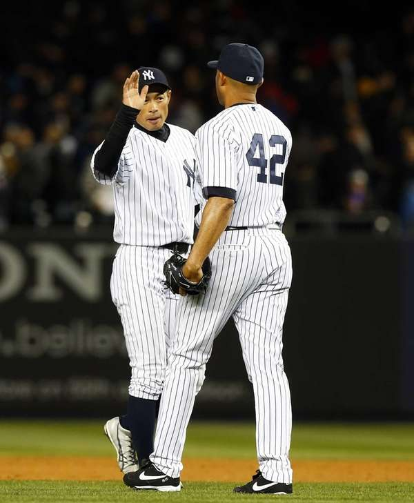 Mariano Rivera and Ichiro Suzuki of the Yankees