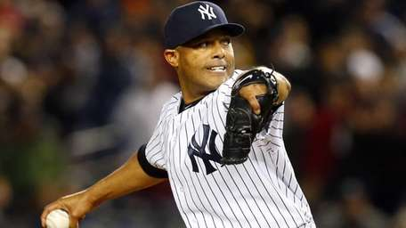 Mariano Rivera of the Yankees pitches in the