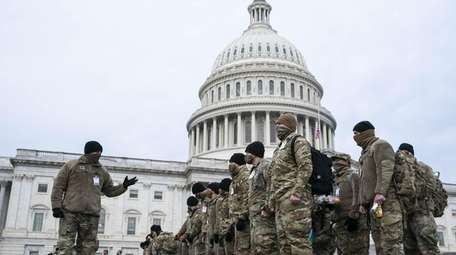 National Guard members outside the U.S. Capitol on