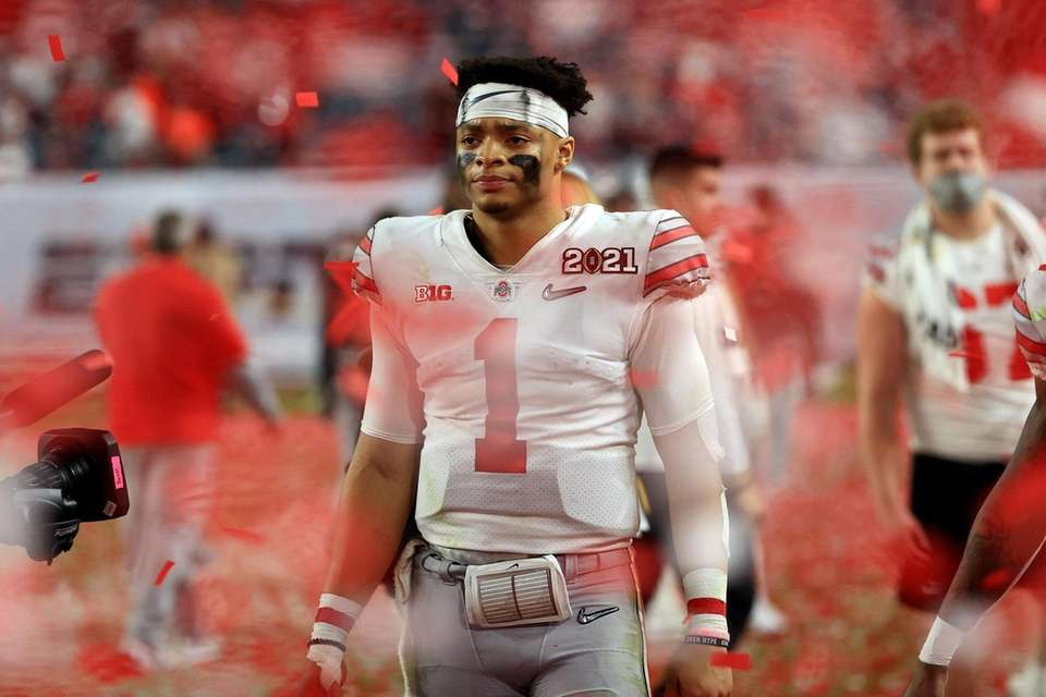 Justin Fields #1 of the Ohio State Buckeyes