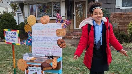 Zoe Muschett, 9, of Freeport, made giant cookies