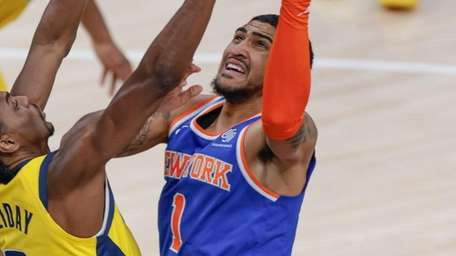 Obi Toppin of the Knicks shoots the ball