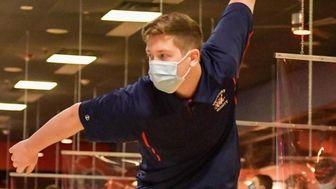 Kyle Perillo, of the Smithtown boys bowling team,