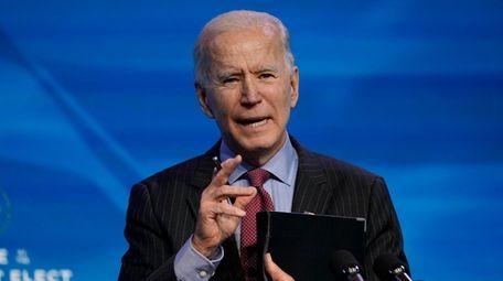 President-elect Joe Biden speaks during an event at