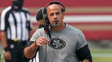 49ers defensive coordinator Robert Saleh is shown during