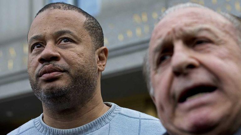 Bronx Assemb. Eric Stevenson, left, with attorney Murray