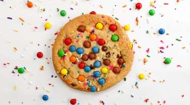 An M & M cookie from David's Cookies,