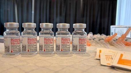 Vials of the Moderna COVID-19 vaccine.