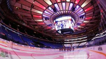 The New York Rangers prepare to face off