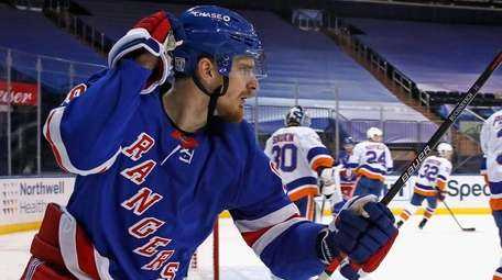 Pavel Buchnevich #89 of the Rangers scores at