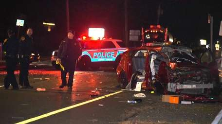 Suffolk County police on scene of a crash