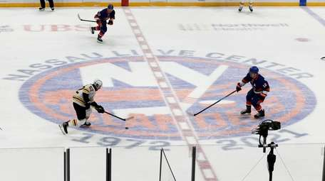 The center ice logo is seen during the