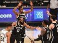 Nets guard James Harden, forward Kevin Durant, forward