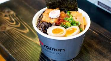 Tonkatsu ramen to go at Rakkii Ramen in