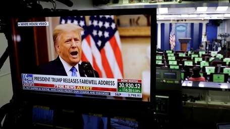 President Donald Trump's videotaped farewell address is seen