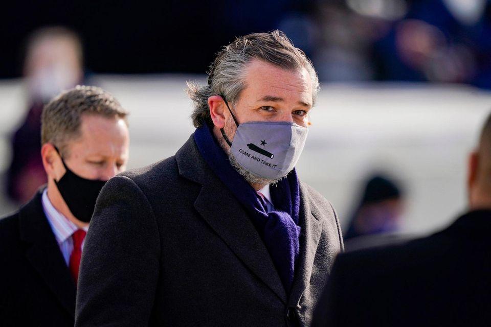 Sen. Ted Cruz (C) (R-TX), wearing a face