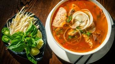 Bun bo Hue, spicy beef noodle soup, at