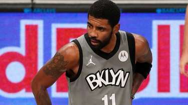 Kyrie Irving of the Brooklyn Nets reacts during