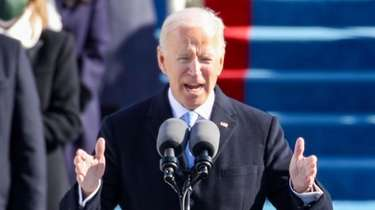 U.S. President Joe Biden delivers his inauguration address