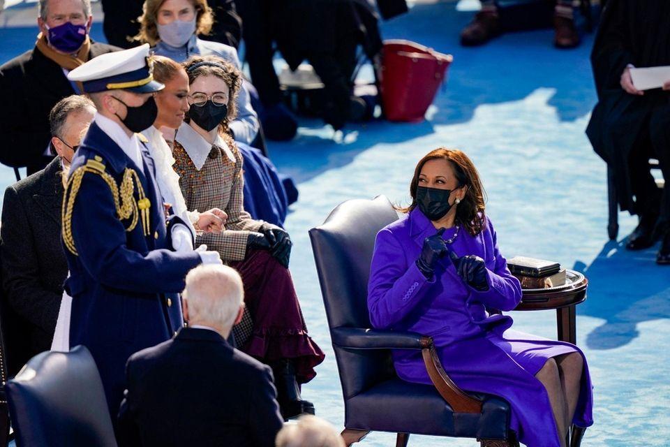 Newly sworn in Vice President Kamala Harris looks