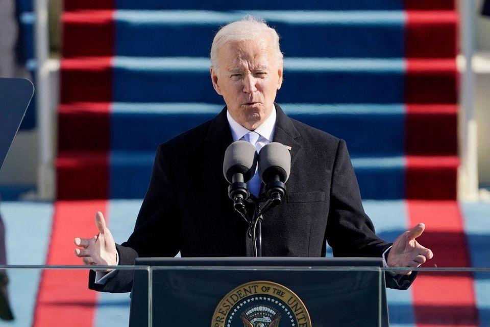 President Joe Biden speaks during his inauguration as