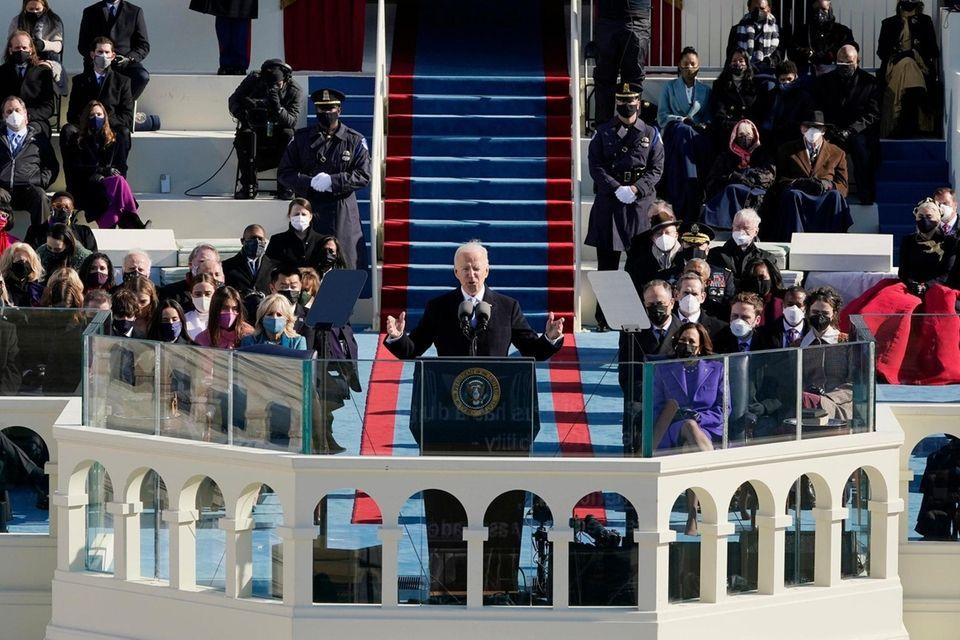 President Joe Biden speaks during the 59th Presidential