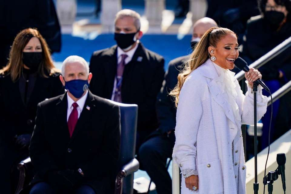 Jennifer Lopez sings during the inauguration of President-elect