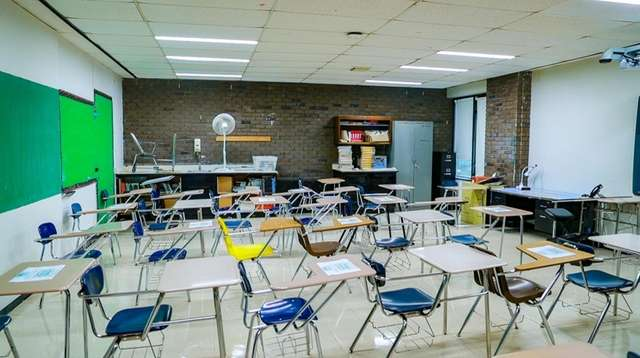A socially distanced Hempstead High School classroom on