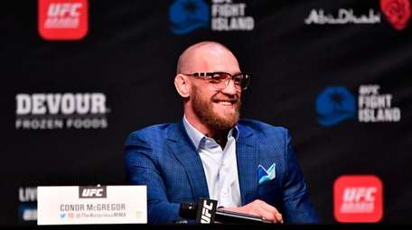 Conor McGregor during the UFC 257 press conference