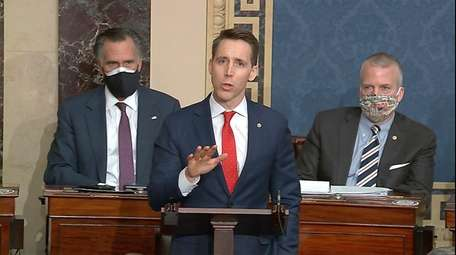 In this image from video, Sen. Josh Hawley