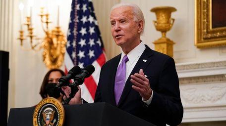 President Joe Biden speaks about the coronavirus, accompanied