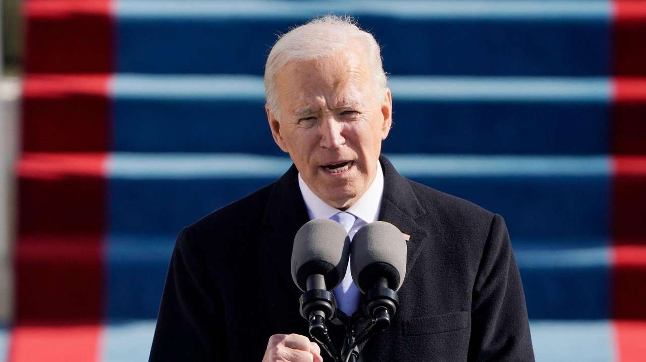 President Joe Biden speaks during his inauguration.