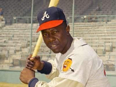 Atlanta Braves outfielder Hank Aaron poses for a