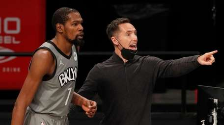 Nets head coach Steve Nash and Kevin Durant