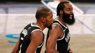 James Harden and Kevin Durant of the Nets
