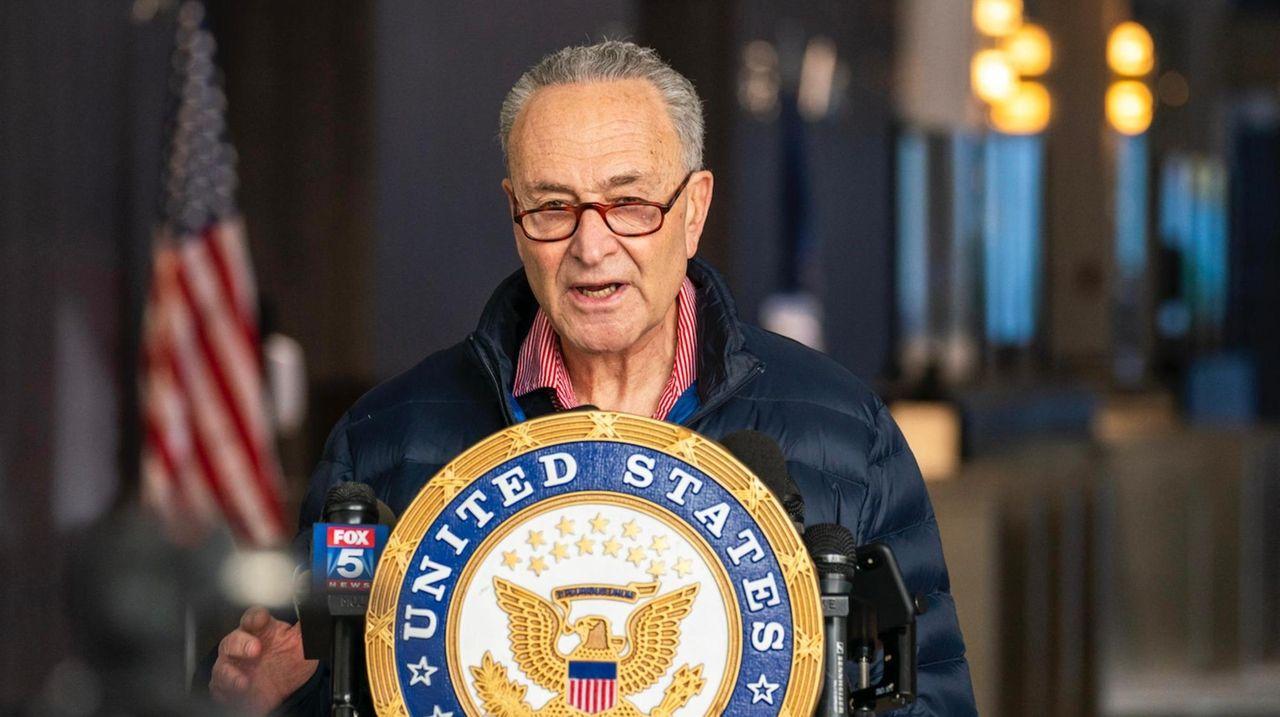 Sen. Chuck Schumer (D-N.Y.) spoke in Manhattan on