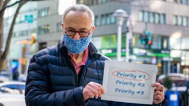 Senate Majority Leader Chuck Schumer (D-N.Y.) holds a