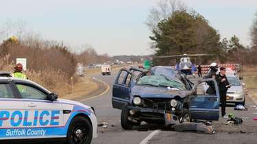 Suffolk police at the scene of a crash