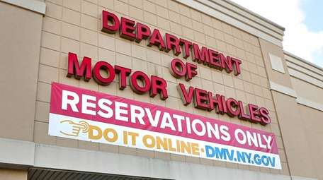 A sign outside the Department of Motor Vehicles