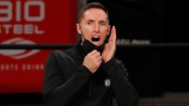 Head coach Steve Nash of the Nets reacts