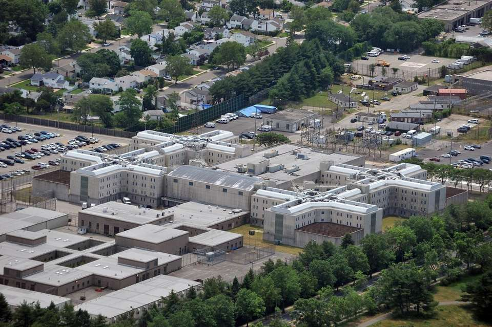 Aerial view shows the Nassau County Jail in