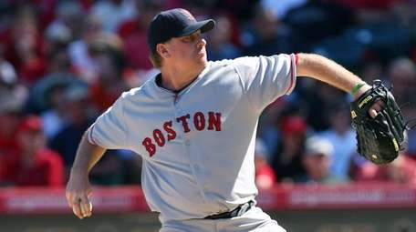 Curt Schilling of the Red Sox during a
