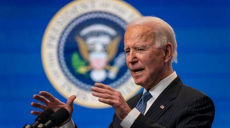 President Joe Biden speaks during an event at