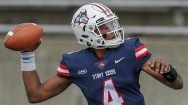 Stony Brook quarterback Tyquell Fields drops back to