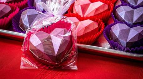 Geometric heart bombs at the Sayville Chocolatier in
