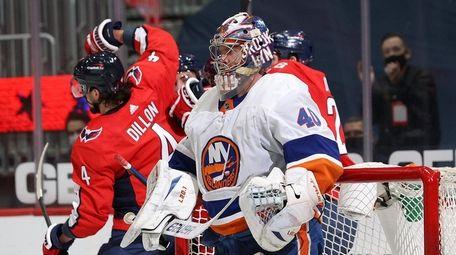 Semyon Varlamov of the Islanders looks on after