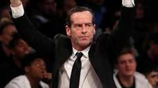 Then-Nets head coach Kenny Atkinson reacts during the