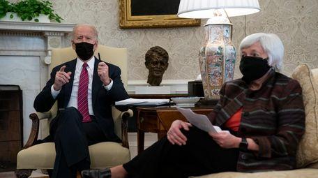 President Joe Biden meets with Treasury Secretary Janet