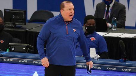Knicks head coach Tom Thibodeau coaches against the