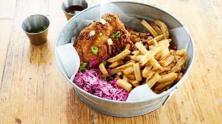 Buttermilk fried chicken with lime chili sauce, jicama-cabbage